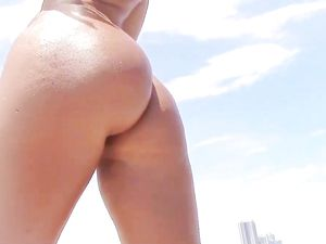 Oiled Up The Big Ass Girl For Poolside Sex