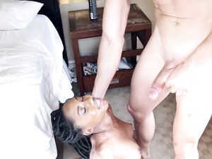 Tall Young Black Chick Fucking A White Guy
