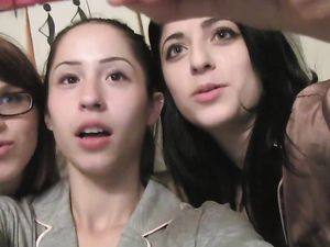 Lesbian Threesome With A Long Strap On