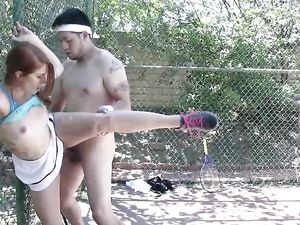 Tennis Coach Fucking A Young Redhead Outdoors