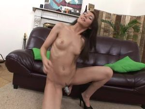 Double Penetration For A Cheerful Brunette