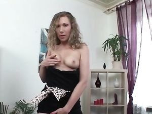 Dildo Inside Her Tight Cunt Makes Her Moan