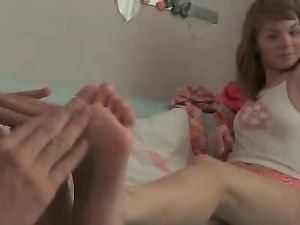 Teen Feet Turn Him On For Her Soaking Wet Pussy