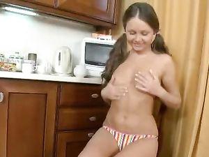 Thick Nine Inch Dildo Fucks Her Teenage Pussy