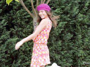 Upskirt Flirting In The Garden With A Cutie