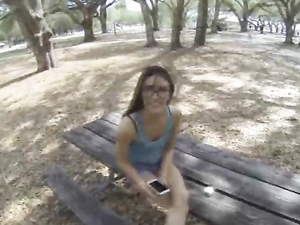 Brunette With  Glasses Does Some Slamming For Cash