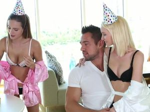Birthday Threesome From Teen Babes For A Lucky Man